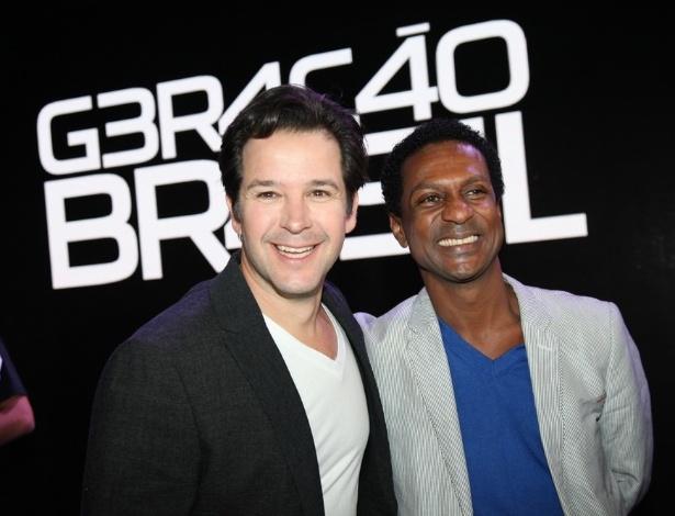 """15.abr.2014 - Os atores Murilo Benício e Luiz Miranda apresentam a novela """"Geração Brasil"""", nova novela das sete, que deve estrear em 5 de maio"""