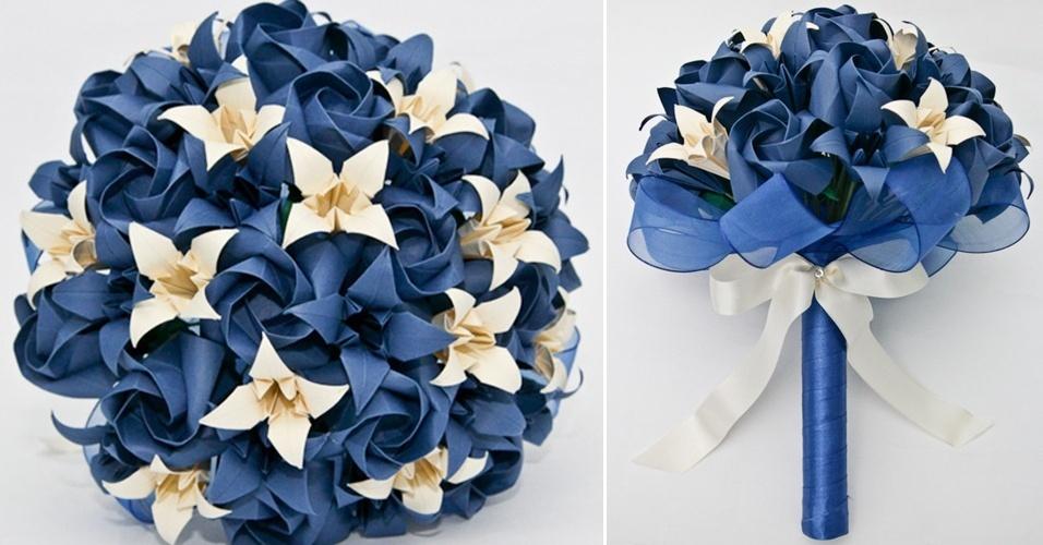 6 - Buquê de rosas e lírios em origami. Da A&M Origami