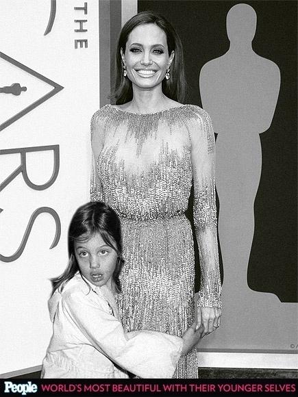 """18.abr.2013 - A revista americana """"People"""" criou um """"reencontro"""" das celebridas com suas versões mais jovens. Na foto, Angelina Jolie em 1980, aos 5 anos, e em 2014, aos 38"""