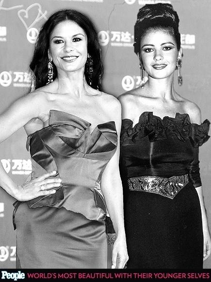 """18.abr.2013 - A revista americana """"People"""" criou um """"reencontro"""" das celebridas com suas versões mais jovens. Na foto, Catherine Zeta-Jones em 2013, aos 43 anos e em 1992, aos 23"""