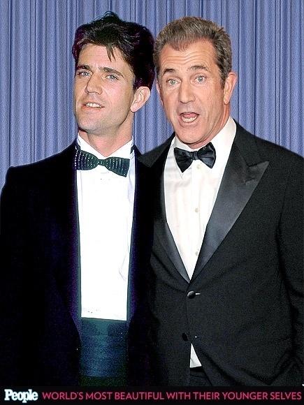 """18.abr.2013 - A revista americana """"People"""" criou um """"reencontro"""" das celebridas com suas versões mais jovens. Na foto, Mel Gibson em 1984, aos 28 anos e em 2013, aos 57"""