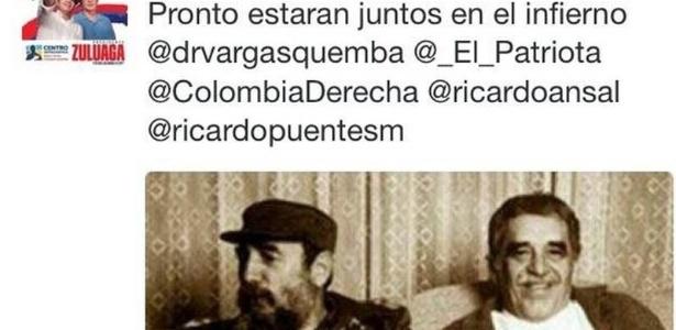 Tuite da deputada colombiana que disse que García Márquez encontrará Fidel no inferno