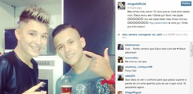 21.abr.2014 - MC Gui usou o Instagram ara lamentar a morte do irmão