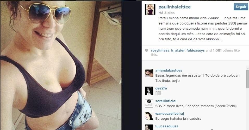 19.abr.2014 - A ex-BBB Paulinha Leite mostrou para seus seguidores no Instagram seus novos seios. Ela colocou próteses de sililcone de 380 mil cada há uma semana