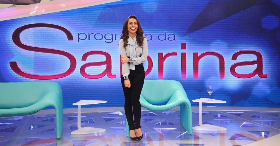 22.abr.2014 - Sabrina Sato apresenta seu novo programa nos estúdios da Record, em São Paulo