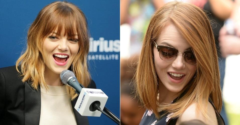 24.abr.2014 - A atriz norte-americana Emma Stone aparece de franja e com os fios mais claros --da metade até as pontas-- durante evento em Nova York (EUA), para divulgação do filme