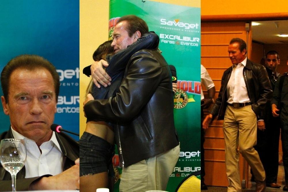 26.abr.2014- Arnold Schwarzenegger ganha um abraço de Renata Molinaro durante coletiva de imprensa em um hotel na Barra da Tijuca, no Rio de Janeiro