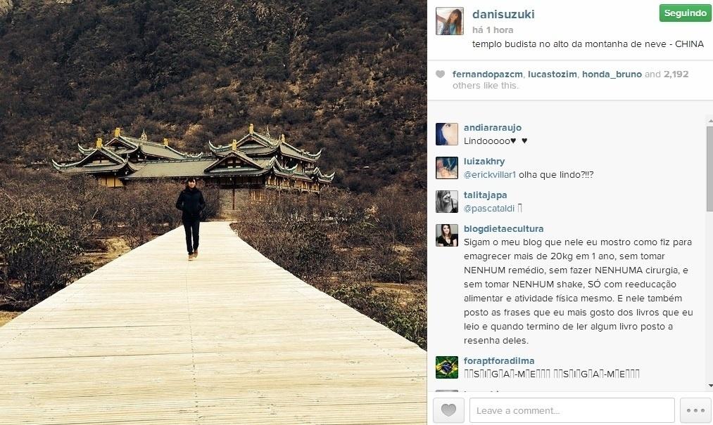 28.abr.2014 - Daniele Suzuki compartilhou com seus seguidores no Instagram uma imagem da visita que fez a um templo budista na China.