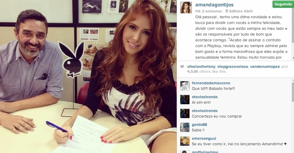 Ex-BBB Amanda assina contrato para ser a capa de maio da revista