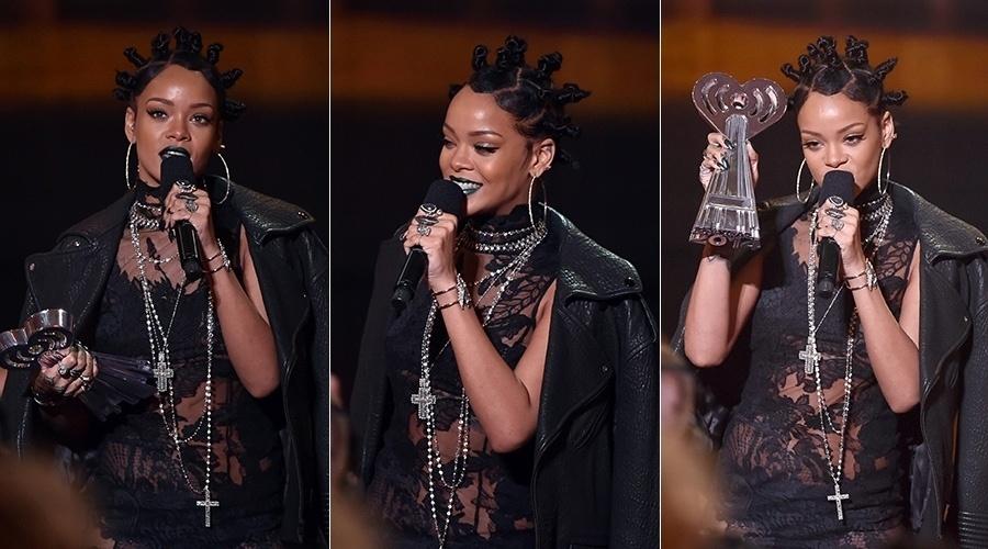 1.mai.2014 - Rihanna escolheu look de gosto duvidoso para prestigiar a premiação