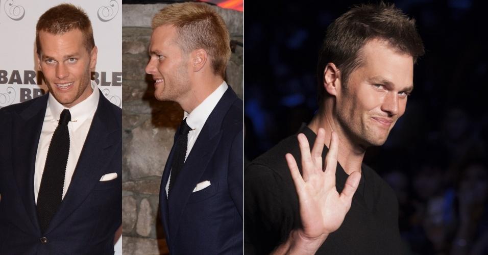 2.mai.2014 - O jogador de futebol americano, Tom Brady, marido da modelo Gisele Bündchen, exibiu os fios mais claros em evento de gala realizado em Louisville, no Kentucky (EUA). O atleta também estava com o cabelo mais curto nas laterais