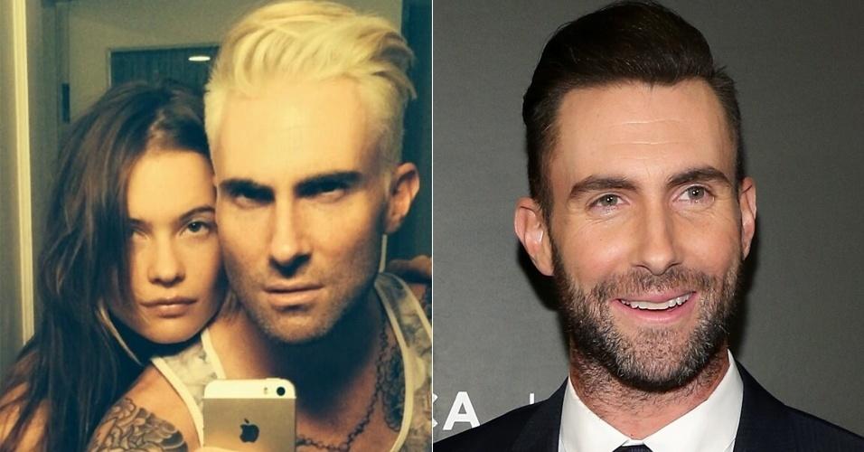 3.mai.2014 - Adam Levine, vocalista da banda Maroon 5 e jurado da versão norte-americana do programa The Voice, surpreendeu as fãs ao postar uma foto com os cabelos em tom de loiro platinado. A imagem foi divulgada em sua página oficial no Twitter com a seguinte legenda: