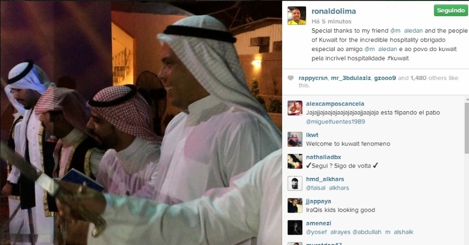 Ronaldo se veste como muçulmano em confraternização no Kuwait