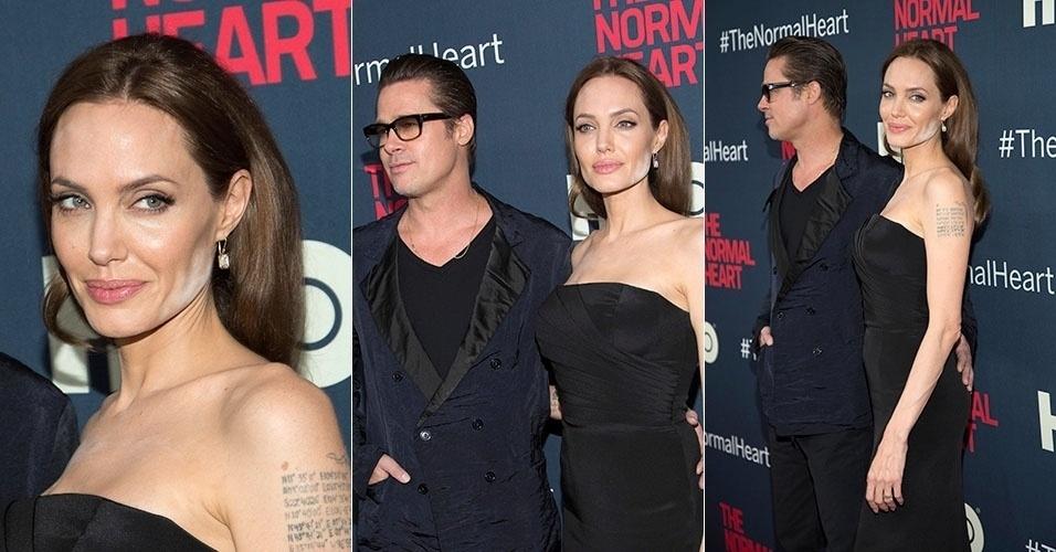 12.mai.2014 - Angelina Jolie exagerou na maquiagem e deixou o pó facial evidente ao comparecer na pré-estreia do filme