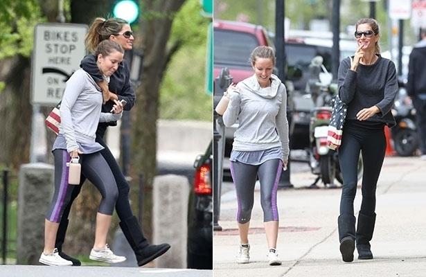 14.mai.2014 - Gisele Bündchen circula com a irmã Patrícia pelas ruas de Boston, Estados Unidos. Empolgada, a top foi vista sorridente enquanto caminhava abraçada à irmã