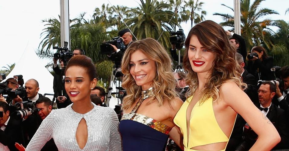 """17.mai.2014 - Taís Araújo, Grazi Massafera e Isabeli Fontana prestigiaram a exibição do filme """"Saint Laurent"""" na 67ª edição do Festival de Cannes"""