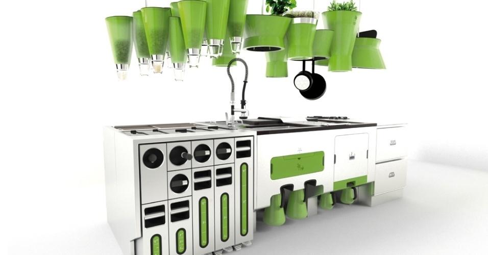 Desenvolvida pelo escritório de design francês Faltazi (www.faltazi.com), a Ekokook é uma cozinha ecológica que reúne sistemas de reciclagem de resíduos, além da área para armazenagem, preparo e cozimento de alimentos. Na parte superior, suspensa no teto, há recipientes para cereais e espaço para uma mini-horta