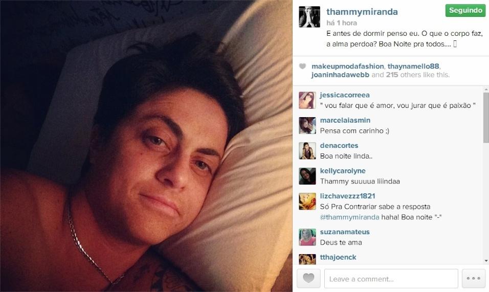 22.mai.2014 - Antes de dormir, na madrugada desta quinta-feira, Thammy Miranda mostrou uma foto sem camisa em sua conta do Instagram