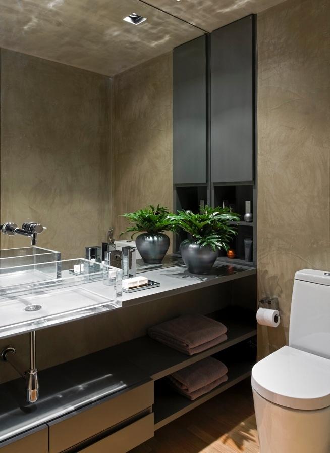 Espaços reduzidos ideias de decoração para salas, banheiros e cozinhas peque -> Pia De Cimento Banheiro
