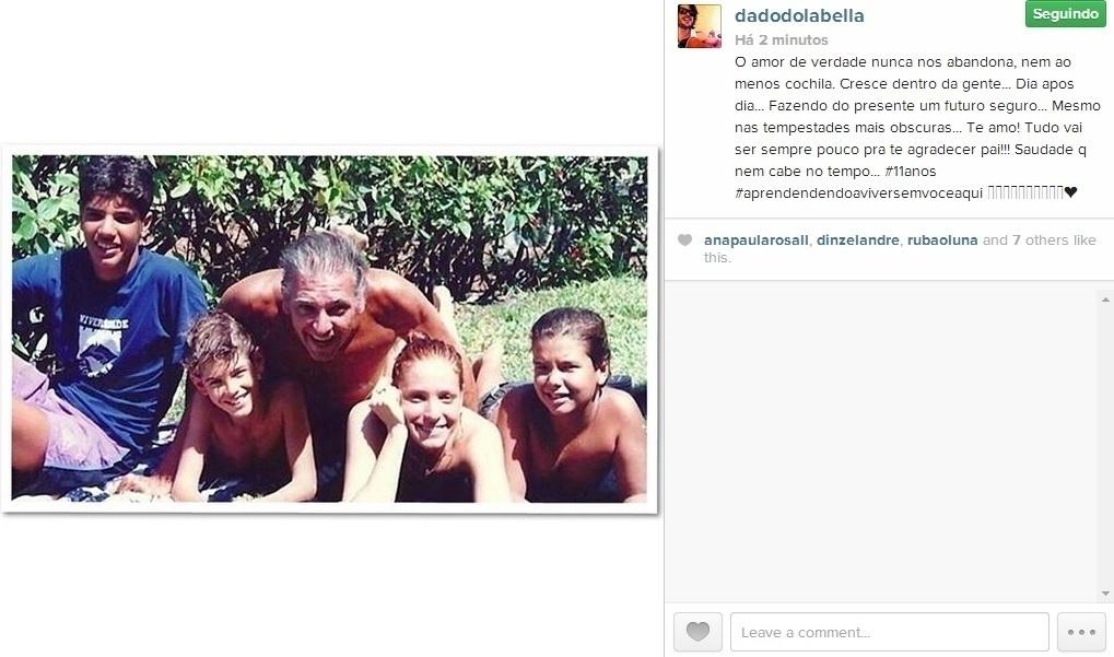 26.mai.2014 - Dado Dolabella relembrou o pai, Carlos Eduardo Dolabella, em foto divulgada por meio do seu Instagram