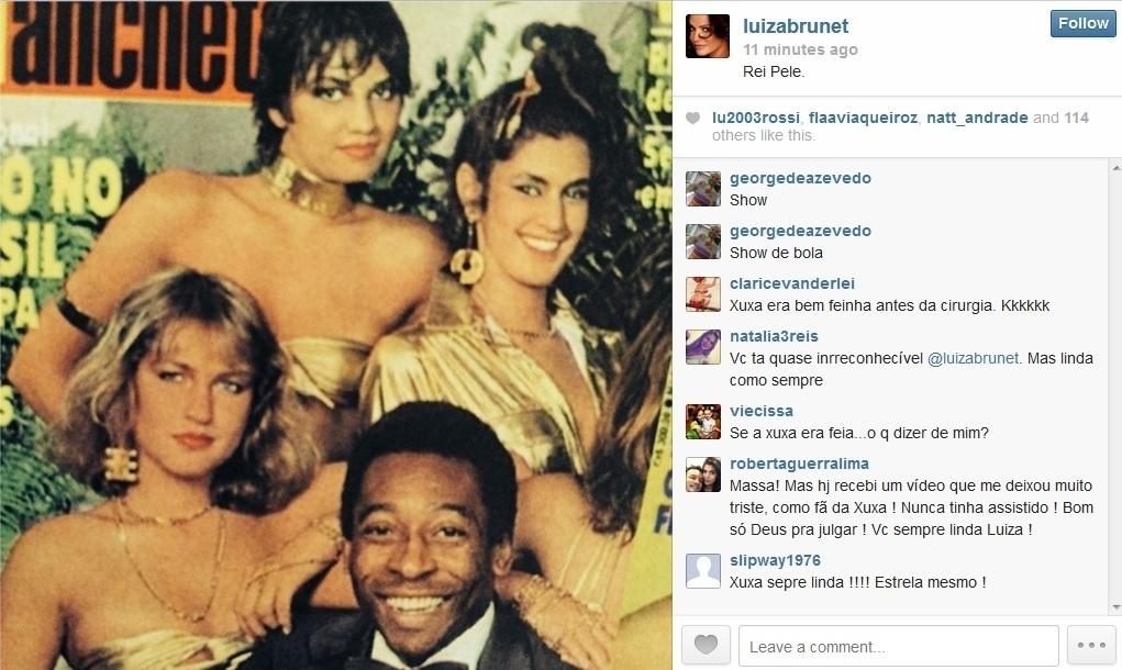 26.mai.2014 - Luiza Brunet usou seu perfil do Instagram para relembrar antigos trabalho. Na imagem divulgada, a modelo aparece em uma capa de revista acompanhada de Xuxa e Pelé. Xuxa e Pelé namoraram no início dos anos 80