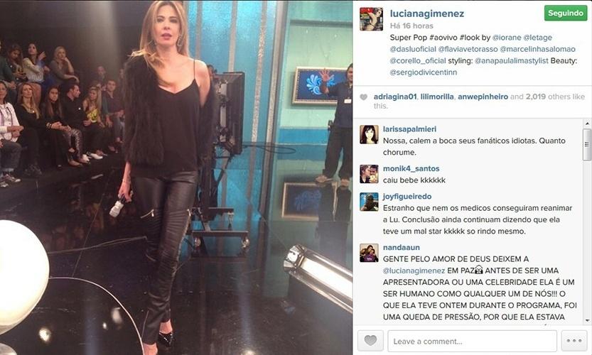 26.mai.2014 - Luciana Gimenez posta foto minutos antes de entrar no ar com o