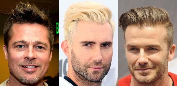 """Brad Pitt (foto à esq.), Adam Levine (centro) e David Beckham aderiram ao """"undercut"""" com topetes diferentes"""