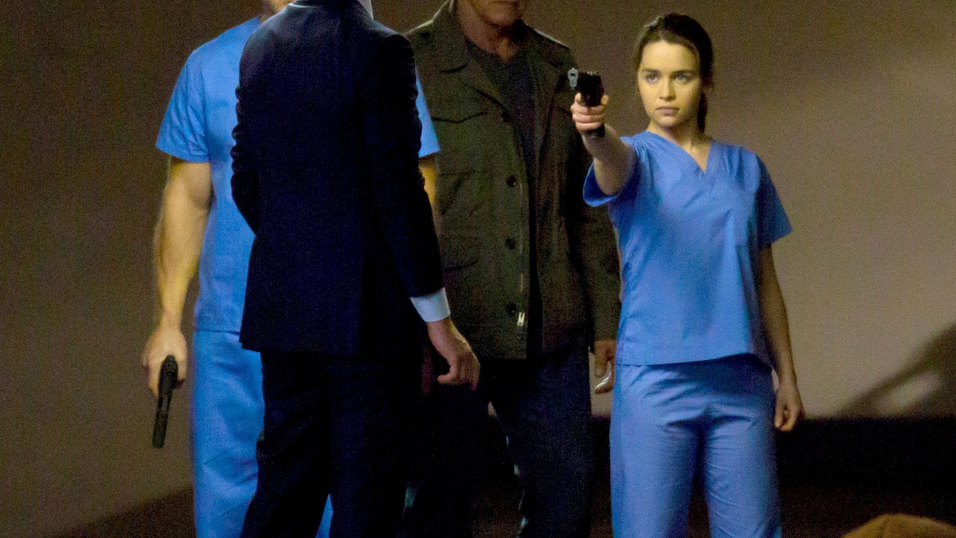 28.mai.2014 - Arnold Schwarzenegger, Emilia Clarke, Jai Courtney e Jason Clarke gravam cenas de