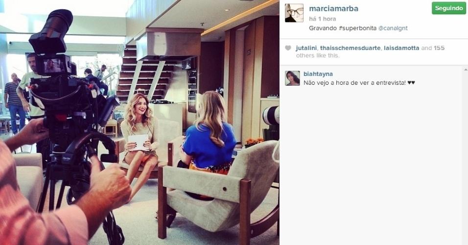 """30.mai.2014 - Grazi Massafera gravou com Angélica para o programa """"SuperBonita"""", que a atriz apresenta no canal pago GNT, em um shopping na Barra da Tijuca, Zona Oeste do Rio de Janeiro"""