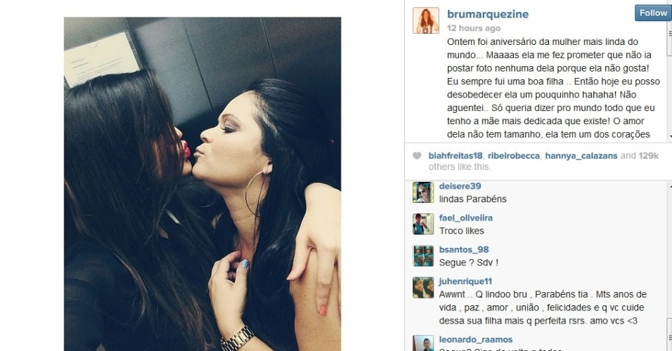 1.jun.2014 - Bruna Marquezine homenageia a mãe no dia do aniversário dela