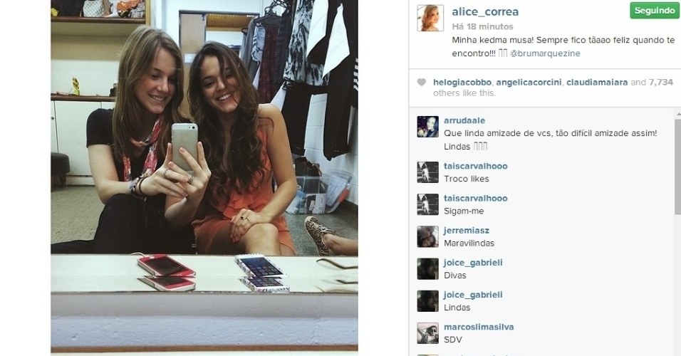 2.jun.2014 - Alice Wegmann fez uma homangem à amiga Bruna Marquezine.