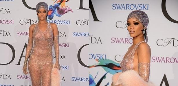 2.jun.2014 - Rihanna deixou os seios à mostra ao apostar em uma transparência ousada durante participação no CFDA Awards, em Nova York, Estados Unidos. A cantora mostrou elegância ao usar o vestido totalmente transparente, assinado pelo estilista Adam Selman. Ainda é possível perceber que a popstar estava de calcinha. Ela combinou o look com luvas e um lenço de cabeça com mais de 216 mil cristais Swarovski.