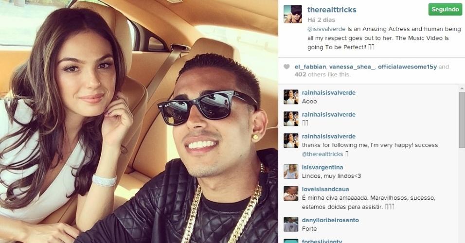 Rapper T-Trick Santana elogia a atriz Ísis Valverde em sua conta do Instagram