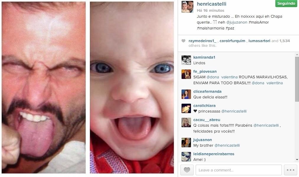 4.jun.2014 - Henri Castelli postou uma montagem na qual aparece fazendo careta ao lado da filha, Maria Eduarda.