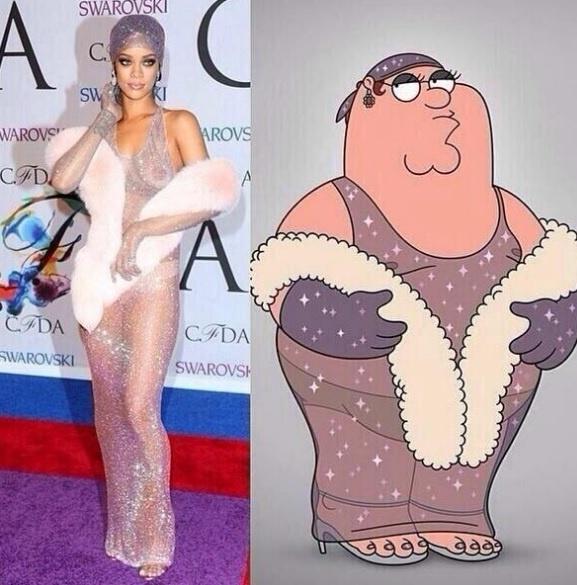 4.jun.2014 - Rihanna postou uma montagem na qual se compara a Peter Griffin, do desenho