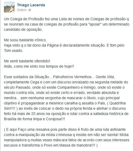 Sem citar o nome de Paulo Betti, Thiago Lacerda se referiu ao colega de profissão