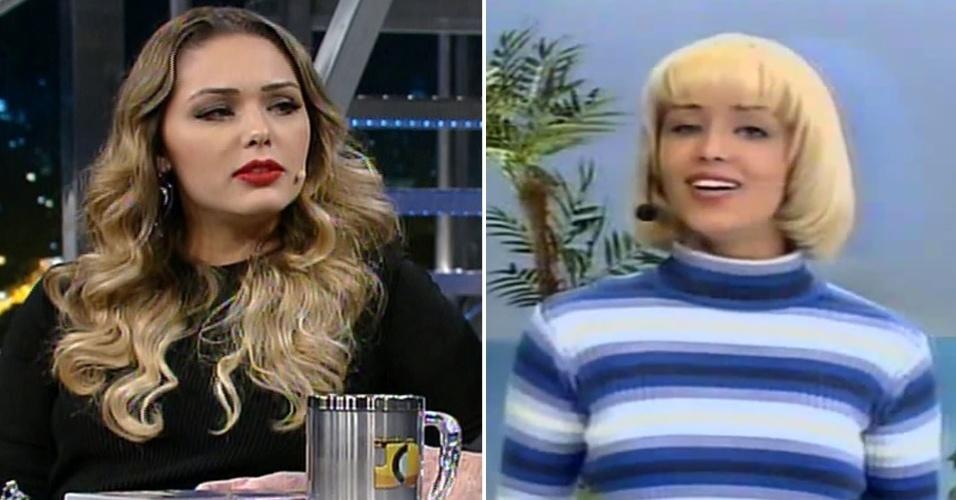 """4.jun.2014 - Tânia Mara conta para Jô Soares que Silvio Santos detonou seu cabelo na época em que apresentava o """"Fantasia"""", no SBT"""