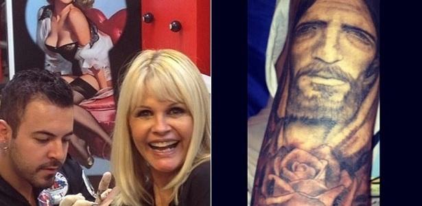 5.jun.2014 - Monique Evans cobriu o braço com uma tatuagem do rosto de Jesus Cristo. Ela revelou o desenho em seu Instagram.