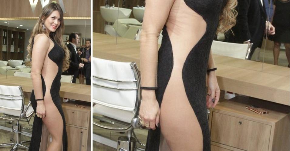 5.jun.2014 - Lívia Andrade vai a inauguração de salão de beleza em São Paulo com vestido transparente e sem calcinha