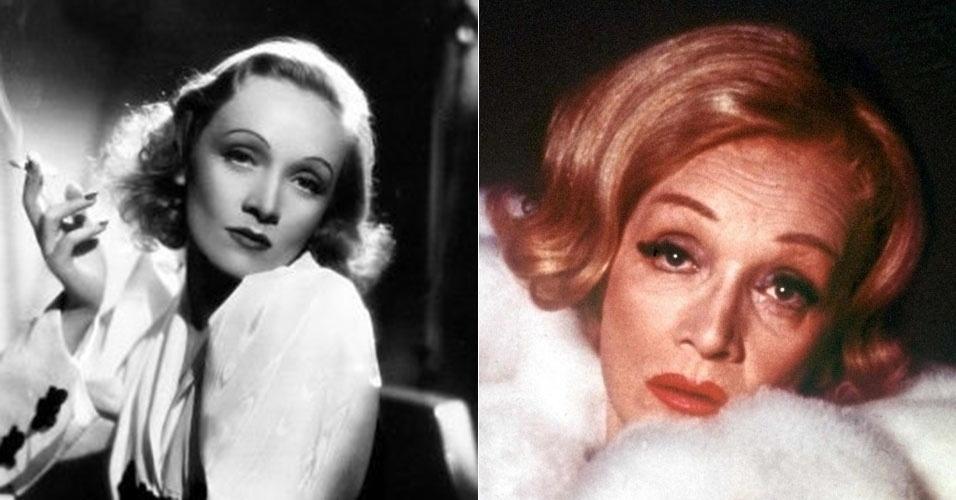 À esquerda, a atriz alemã Marlene Dietrich em foto de 1932. À direita, ela aparece já com 71 anos, em 1972. Ela morreu em 1992, com 90 anos de idade