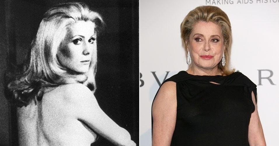 """Catherine Deneuve tornou-se símbolo sexual com o filme """"A Bela da Tarde"""", de 1967. Uma de suas aparições mais recentes foi no baile de gala da AmfAr em Cap d'Antibe, na França. Ela está com 69 anos"""