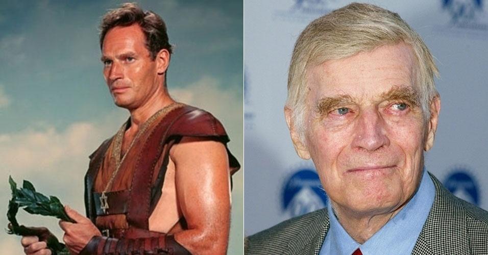 """Charlton Heston atingiu o auge de seu sucesso em 1959, com o filme """"Ben-Hur"""". Uma de suas últimas fotos é de 2002, quando ele tinha 78 anos e prestigiou uma festa da Paramount"""