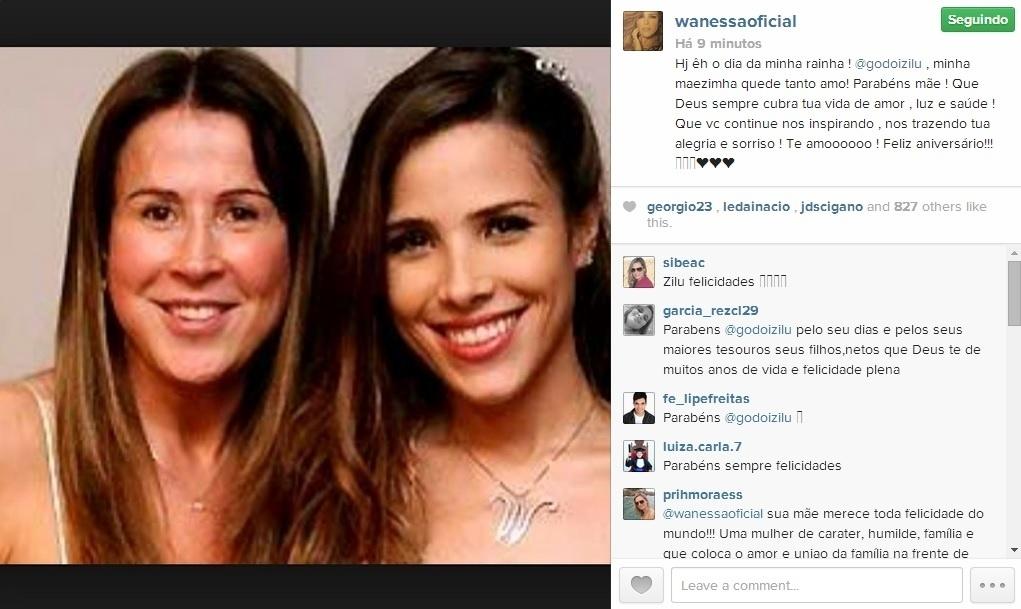 Wanessa posta foto ao lado da mãe, Zilu