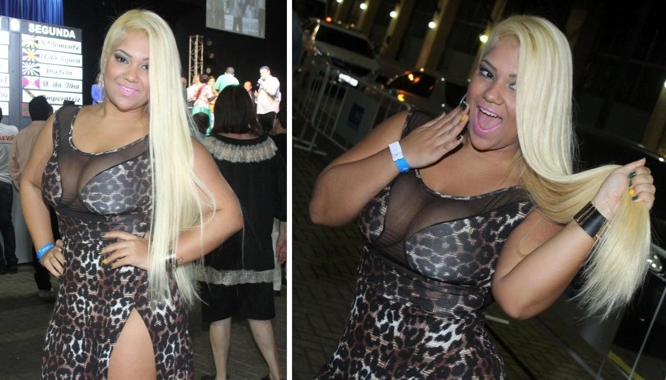 10.jun.2014 - A ex-fazenda Yani de Simone, mais conhecida como Mulher Filé, mostra seu novo visual com cabelo platinado e alongado durante o sorteio que define a ordem dos desfiles do Carnaval 2015, que aconteceu na Cidade do Samba, no centro do Rio de Janeiro
