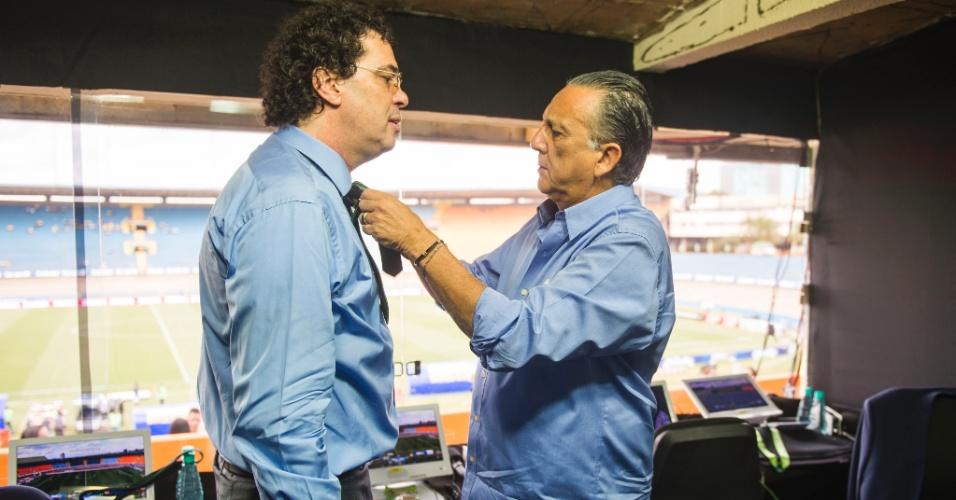 Galvão Bueno preocupado com a elegância de Casagrande