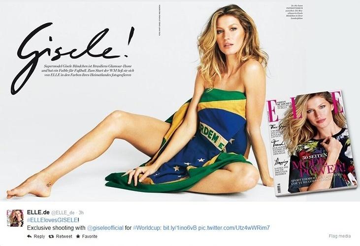 11.jun.2014 - Gisele Bündchen posa enrolada em bandeira do Brasil em ensaio para a edição alemã da revista