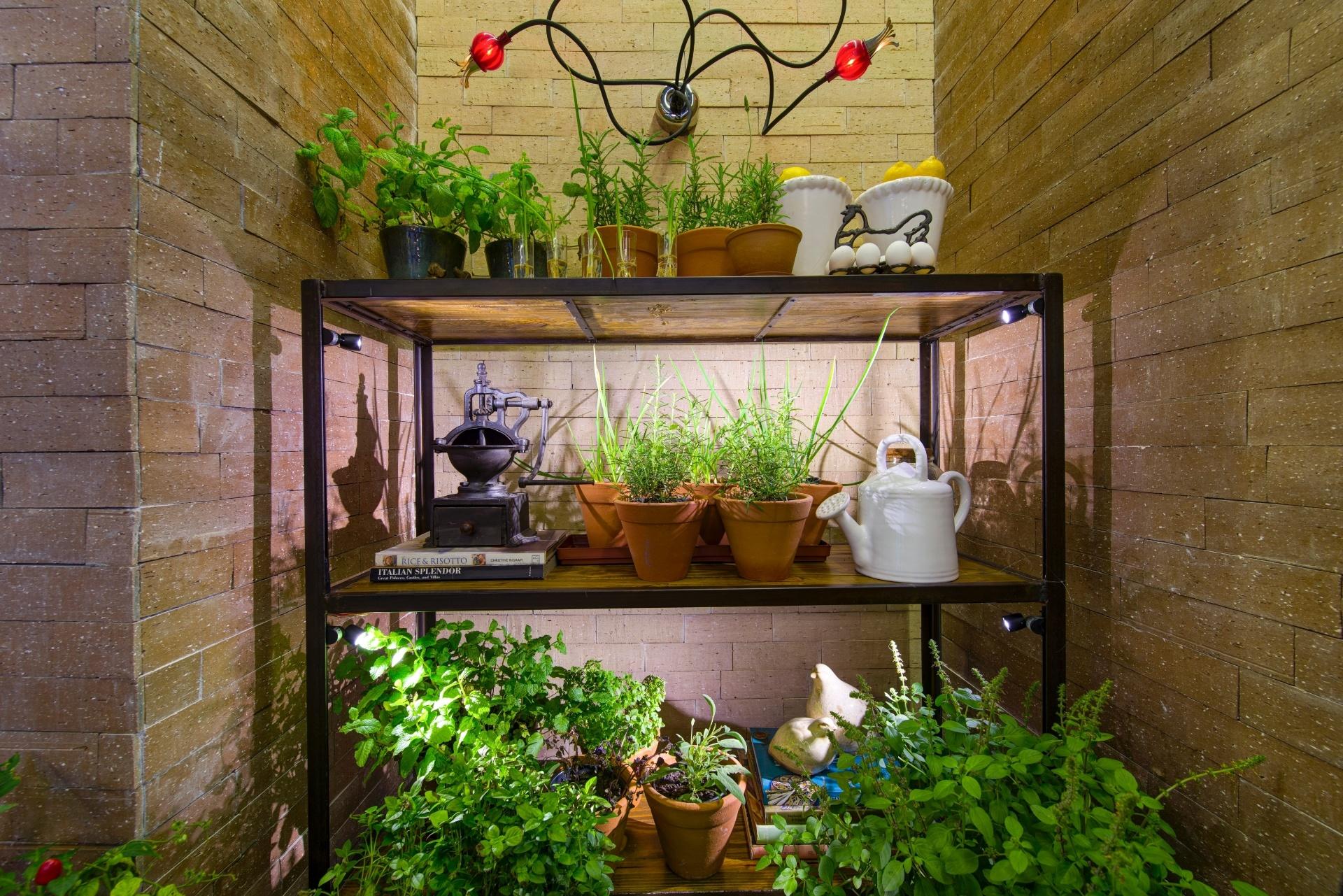 Charme e frescor da horta de temperos ou do cantinho verde - No espaço Cozinha e Lavanderia, Adriana Giacometti colocou vasinhos com temperos sobre uma estante baixa e antiga