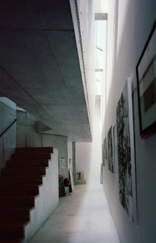 O corredor de entrada se configura como um ambiente especial, que une as duas residências contidas na Casa TN, em Tóquio. Neste triplex, a matrona vive no andar térreo, enquanto o filho ocupa, com sua esposa, os cômodos superiores. O longo corredor lateral foi projetado para ser uma galeria de exposição das gravuras da senhora, distribuídas ao longo de uma enorme parede-empena. Lá de cima, uma claraboia ilumina o espaço com luz natural. O projeto é do arquiteto japonês Tsuyoshi Ando