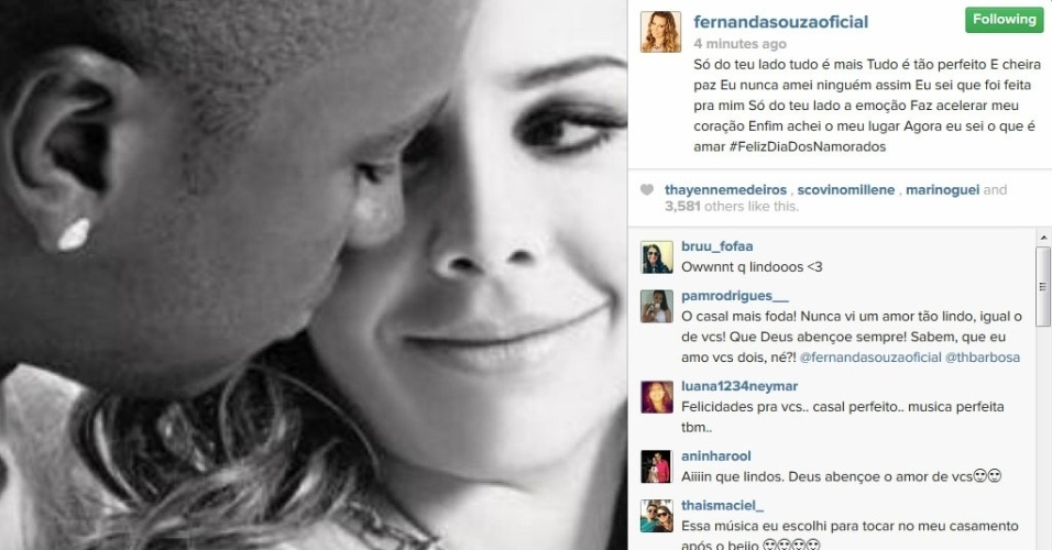 12.jun.2014 - Fernanda Souza se declara para o noivo Thiaguinho: