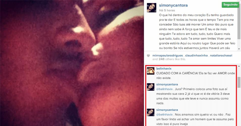 12.jun.2014 - Simony faz declaração de amor ao namorado, Patrick Souza, mas se irrita com comentário de seguidor no Instagram